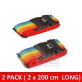 2 Pack Luggage Security Strap Suitcase Packing Belts with Password Lock Clip, Rainbow Stripe